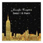 Gold NYC Skyline Etch Starry BG Color SQ Sweet 16 Invitation