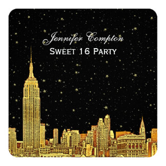 Gold NYC Skyline Etched Starry Sky SQ Sweet 16 Card