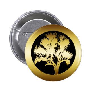 GOLD OAK TREE 2 INCH ROUND BUTTON