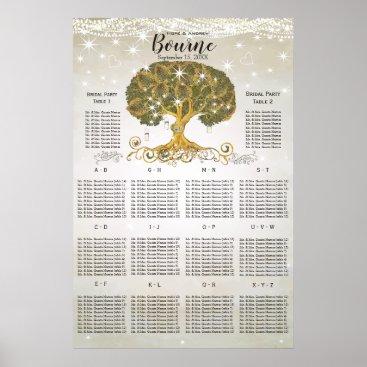 Art Themed Gold Oak Tree Seating Chart