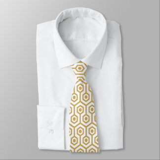 Gold Octagonal Pattern On Custom White Background Tie