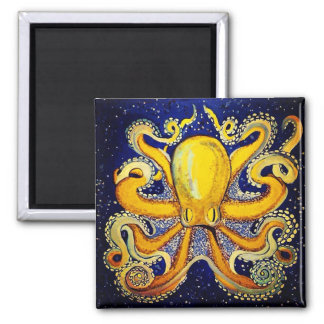 Gold Octopus in Blue Magnet