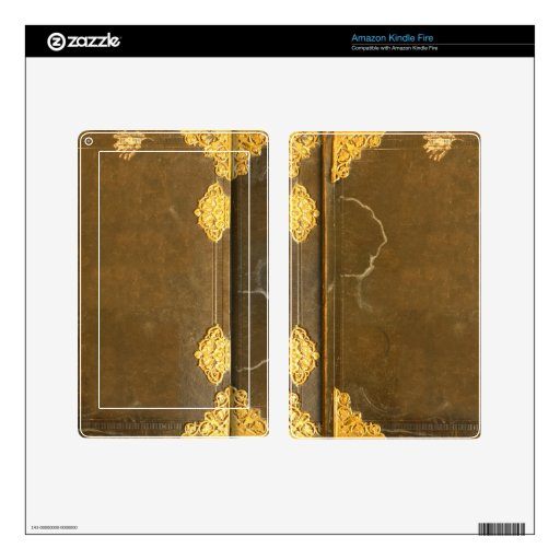 Old Book Kindle Case : Gold old book cover kindle fire decals zazzle