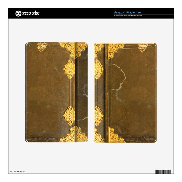 Old Fashioned Book Kindle Cover : Gold old book cover kindle fire decals zazzle