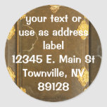 Gold & Old Book Cover Round Sticker