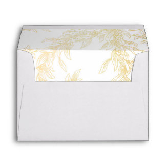 Gold Olive Leaves Vintage Wedding Envelope