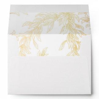 Gold Olive Leaves Vintage Wedding Envelope