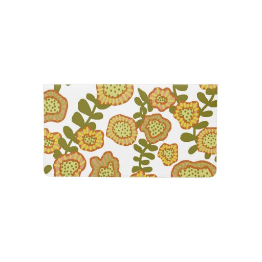 Gold Olive Orange Floral Design © Cathy Thompson Checkbook Cover