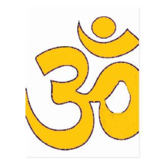 gold om aum sanskrit mantra ,symbol ,Shape of Aum Postcard