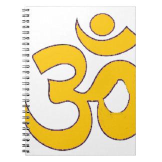 gold om aum sanskrit mantra ,symbol ,Shape of Aum Spiral Notebook