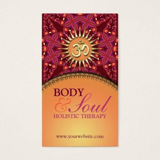 Gold OM Batik  New Age Holistic Business Card