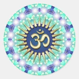 Gold Om Green Blue Mandala Meditation Yoga Sticker