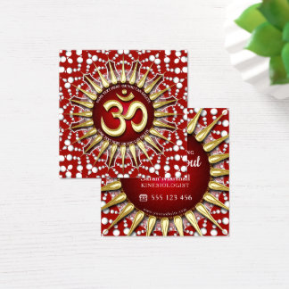 Gold OM Holistic Red White Mandala Square Square Business Card