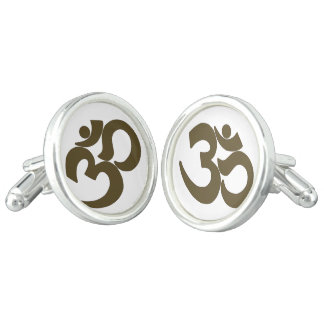Gold Om on White Cufflinks