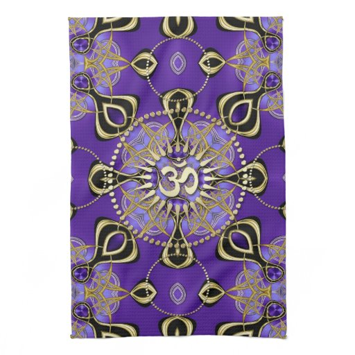 Gold OM Purple Goa Skies New Age Home Decor Hand Towel