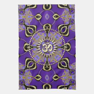 Gold OM Purple Goa Skies New Age Home Decor Kitchen Towel
