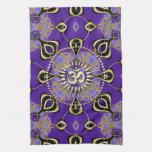 Gold OM Purple Goa Skies New Age Home Decor Kitchen Towel