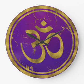 Gold OM symbol - Aum, Omkara  on Purple/Indigo Large Clock