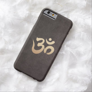 Gold Om Symbol Faux Leather iPhone 6 Case
