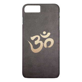 Gold Om Symbol Faux Leather Yoga iPhone 7 Plus Case