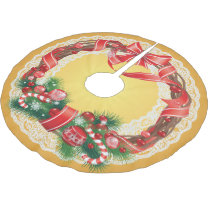 Gold Ombre and Lace with Christmas Wreath Brushed Polyester Tree Skirt