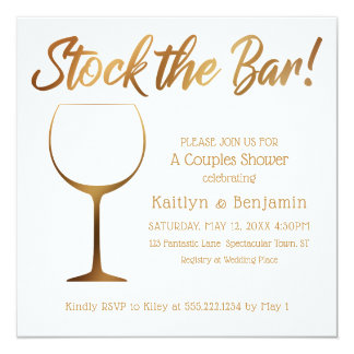 Gold Ombre and White Couples Stock the Bar Shower Card