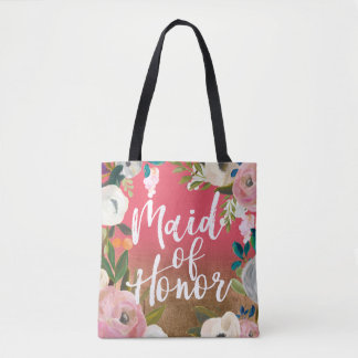 Gold Ombre Floral Wedding Party Maid of Honor Tote Bag
