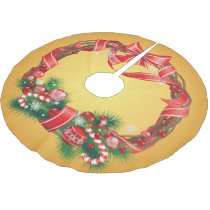 Gold Ombre  with Christmas Wreath Brushed Polyester Tree Skirt