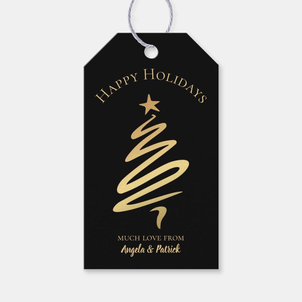 Gold on Black Elegant Christmas Tree Gift Tag
