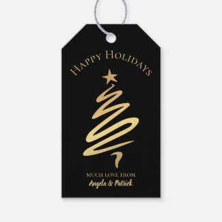 Gold on Black Elegant Christmas Tree Gift Tag