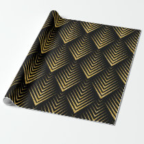 Gold On Black Geometric Art-Deco Pattern Wrapping Paper