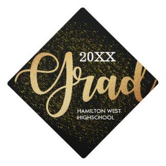 Gold on black Grad Year Golden glitter Graduation Cap Topper