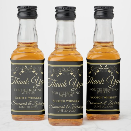 Gold On Black Wedding Mini Liquor Bottle Thank You Liquor