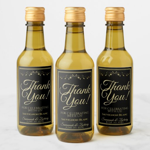 Gold on Black Wedding Mini Wine Bottle Thank You Wine Label