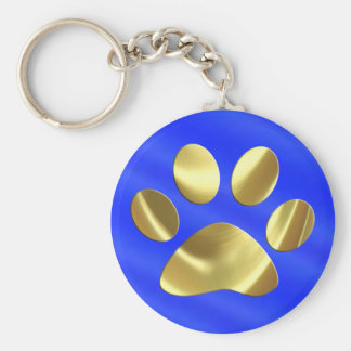 Gold on Blue Cat Paw Print Keychain