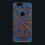 """Gold on Blue Chaos Wood Nexus 6P Case<br><div class=""""desc"""">Intricate symbol for chaos with gold detailing layered on blue-jean blue on a natural genuine wood smart phone case.</div>"""