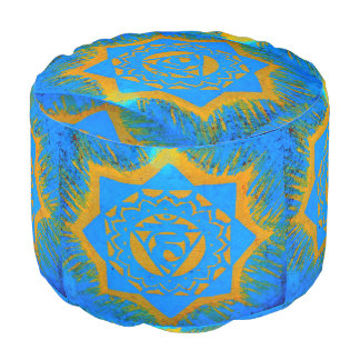 gold on blue tantric design round pouf