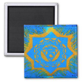 gold on blue tantric symbol magnet