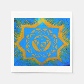 gold on blue tantric symbol paper napkin