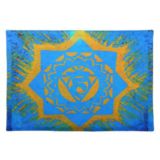 gold on blue tantric symbol placemat