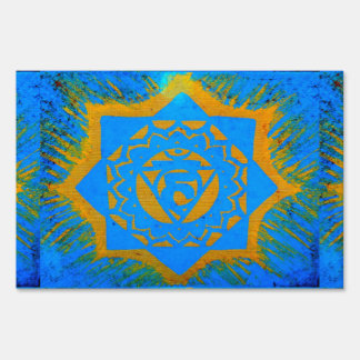 gold on blue tantric symbol sign