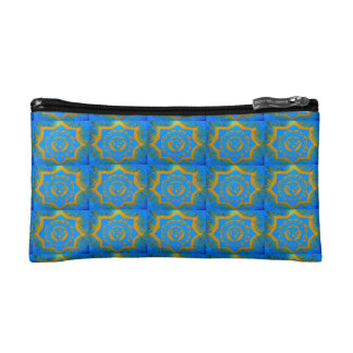 gold on blue tibetan style cosmetic bag