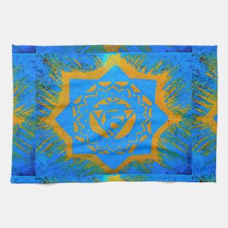 gold on blue tibetan tantric kitchen towel