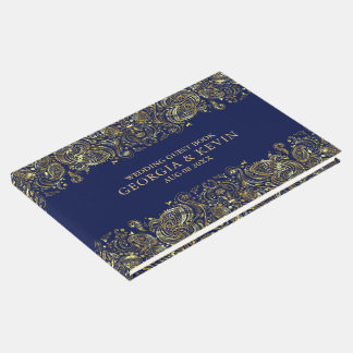 Gold On Dark-Blue Floral Paisley Lace Guest Book