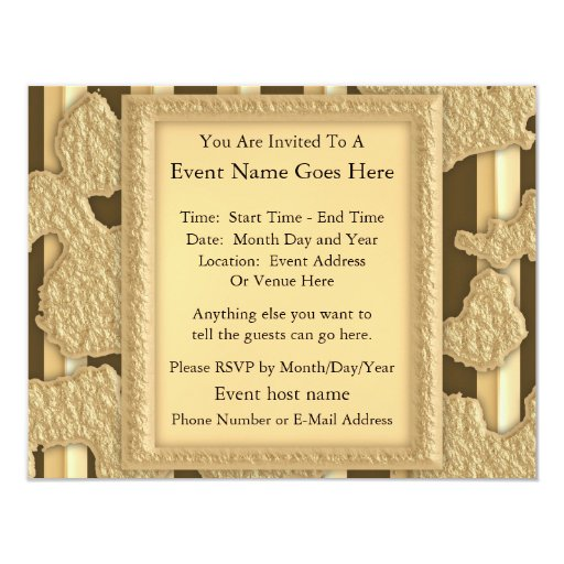 Gold On Gold 4.25x5.5 Paper Invitation Card