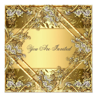 Gold on Gold Any Party Invitation Personalized Invite