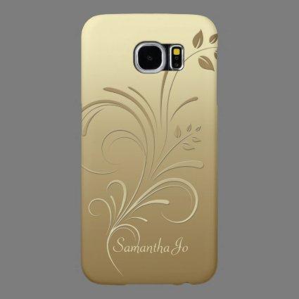 Gold on Gold Floral Swirls Monogram case Samsung Galaxy S6 Cases