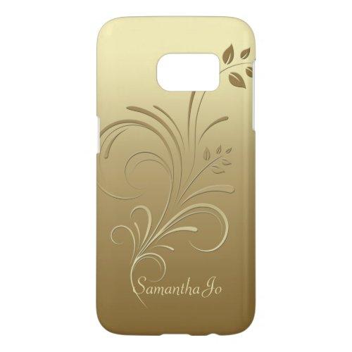 Gold on Gold Floral Swirls Monogram Samsung S7 Phone Case