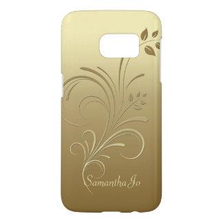 Gold on Gold Floral Swirls Monogram Samsung S7 Samsung Galaxy S7 Case