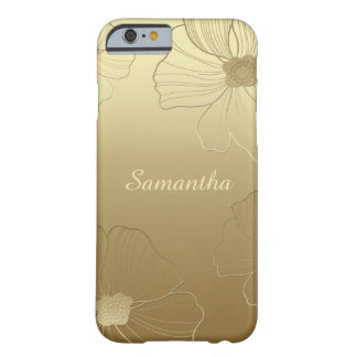 Gold on Gold Sketched Flowers Monogram iPhone 6 Barely There iPhone 6 Case